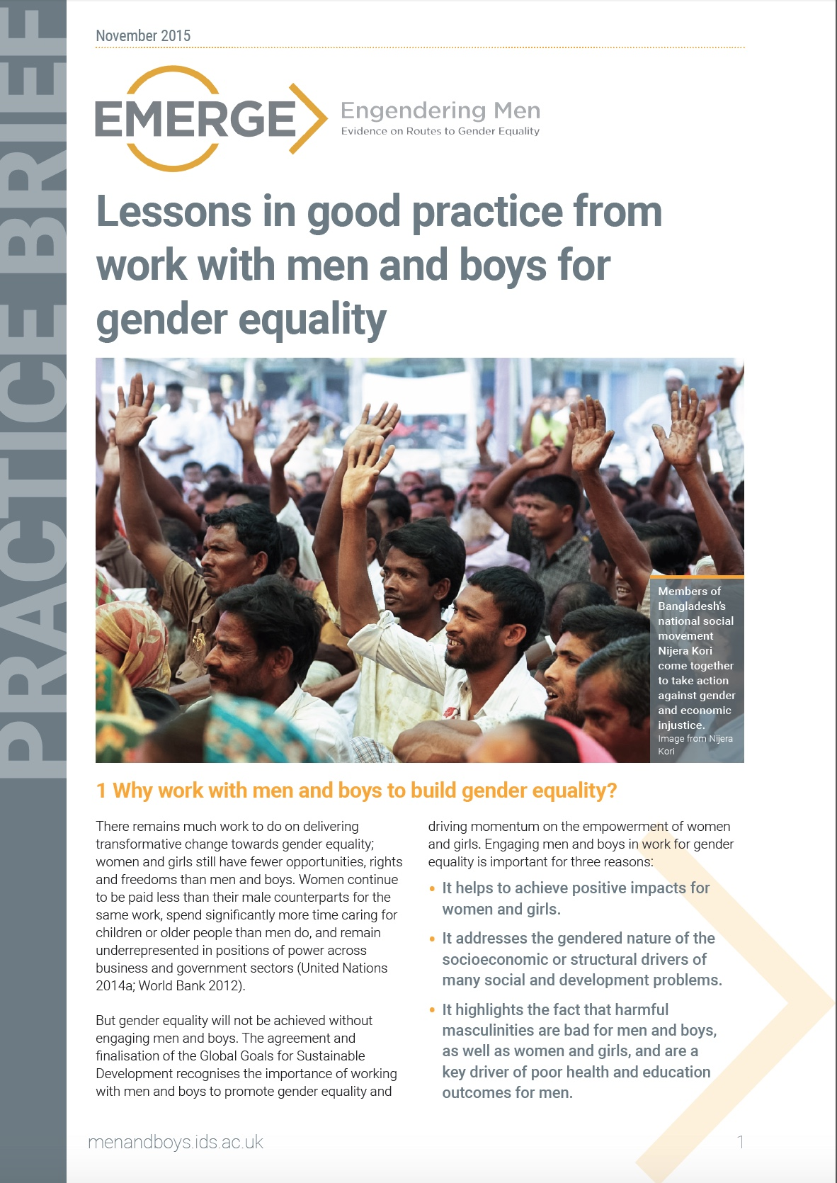 EMERGE, Practice brief - Lessons in good practice from work with men and boys 2015 - Cover