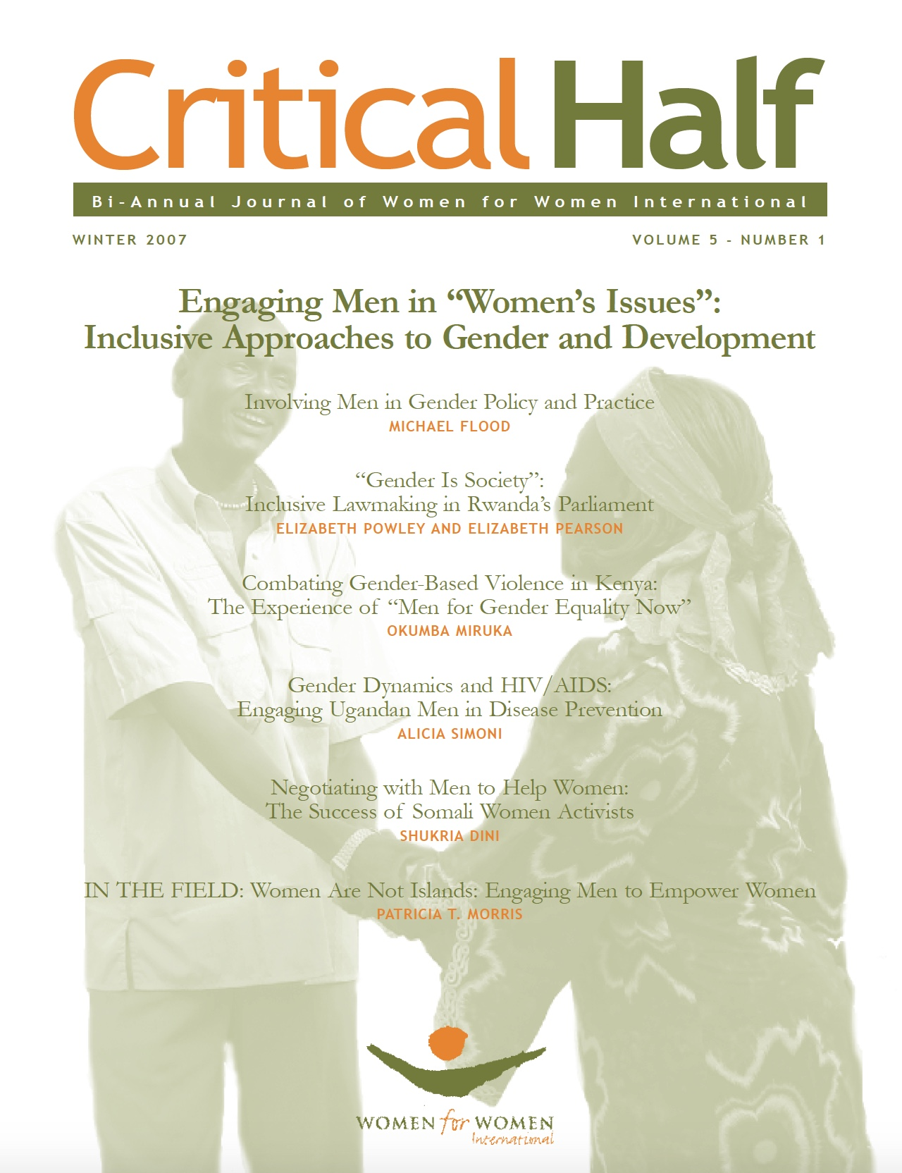 Critical Half, Engaging men in women's issues - Cover