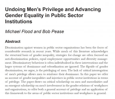 Flood Pease, Undoing men's priv - Abstract