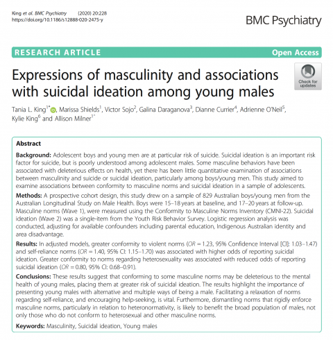 King, Expressions of masculinity and associations with suicidal ideation 2020 - Abstract
