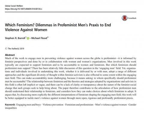 Burrell Flood, Which Feminism - Dilemmas in Profeminist Men's Praxis 2019 - Abstract