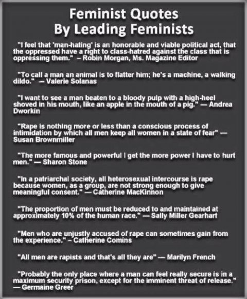 MRA, Feminist quotes by leading feminists
