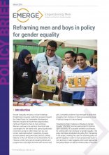 EMERGE, Policy Brief - Reframing men and boys in policy for gender equality March 2016 - Cover